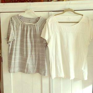 2 Talbots Tops XL & XLP Blue/White Stripe & White